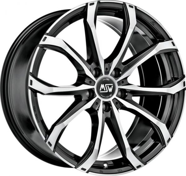 MSW 48 GLOSS BLACK FULL POLISHED Wheel 9x19 - 19 inch 5x112 bold circle