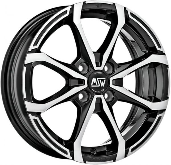 MSW Felge X4 GLOSS BLACK FULL POLISHED 6x16 - 16 Zoll 4x100 Lochkreis