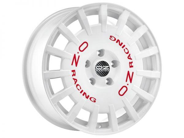 OZ RALLY RACING Weiß mit roter Schrift Felge 8x18 - 18 Zoll 5x100 Lochkreis
