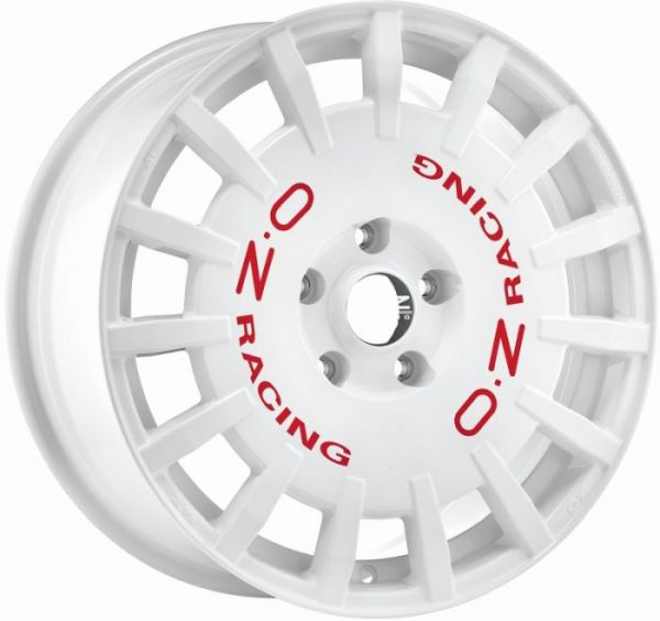 RALLY RACING WHITE + RED LET. Wheel 8x18 - 18 inch 5x108 bold circle